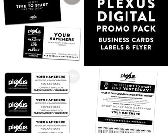 Plexus Black and White Promo Pack - Business Cards, Labels & Flyer - Digital Files