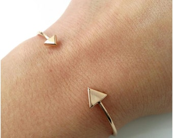 Bracelet, gold-plated ring - ring semi open triangles gold 750/000 - size adjustable, end ring Gold - Bracelet bangle gold plated 18 k