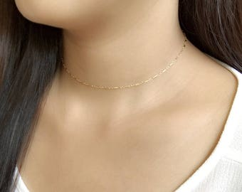 Bar chain gold choker necklace / dainty bar necklace / delicate necklace