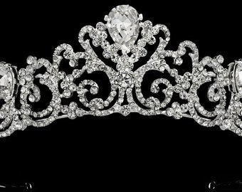 New Bridal Gorgeous Regal CZ Crystal Rhinestone Tiara Crown