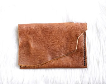 The Fawn Clutch No.4, leather clutch, minimalist clutch minimalist clutch, small purse, card holder makeup bag raw edge