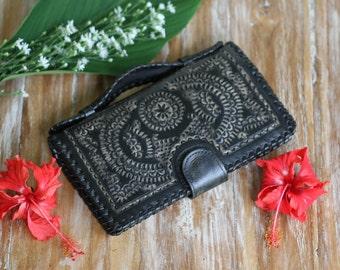 Black Leather Wallet, Womens Wallet, Boho Wallet, Bohemian Wallet, Hippie Wallet, Gypsy Wallet, Crossbody Travel Wallet, Wallet With Strap