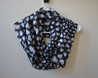 Black Chiffon Scarf with Ecru Hearts and Red Shades, Chiffon Scarf, Summer Fashion, Women Accessories, Spring, Summer, Fall