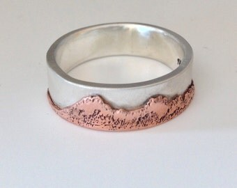 Mountain Ring Sterling silver-Copper and Silver Ring