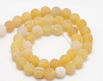 50 cracked 8 mm yellow dragon vein agate beads / gemstone beads / agate 8mm