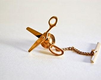 Working Intercast Scissor Tack Pin - Tie Tack - Gold Scissors - Vintage Scissor Pin - Vintage Intercast Pin - 1970s Tie Tack