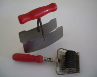 Red handle utensils, rotary mincer and double blade chopper