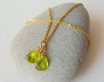 Green Tourmaline Gold Chain Neckllace Wire Wrapped T Gold Tone Tourmaline Gemstone, Minimalist Gold Necklace, 70s Jewelry Handmade Vintage