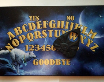 A4 Hand Finished Wooden Mystic Wolf Talking Board Set Complete with All-Seeing Eye Planchette, Classic Ouija Style Board, Full Moon, Pagan