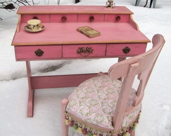 SOLD****  Desk & chair pink, shabby chic desk/chair, pink painted desk/chair, vintage desk/chair