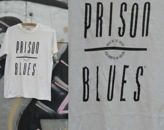 Vintage prison blues shirt | 80s prison shirt | 80s white tee | Retro 80s shirt |