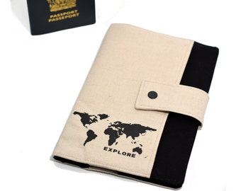 ANTI RFID protection | Family passport holder | Travel case | Boarding pass | 4 - 8 passeports | world map mappemonde