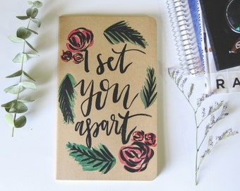 Prayer Journal // Custom Journal // Personalized Scripture Gift // Gift for Her // Floral Journal // Hand Lettered // Jeremiah 1:5