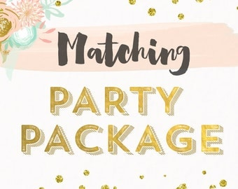 Small Party Package Invitations.Tags,Banner,Thank you notes, Diaper Raffle,Sign, Bottle labels, Cupcake Toppers Food Labels Printable