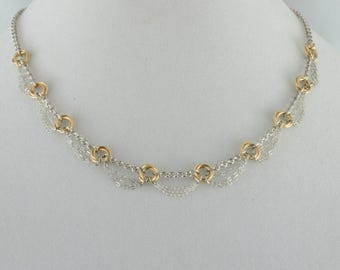 14K Gold and Silver Rosebud Necklace