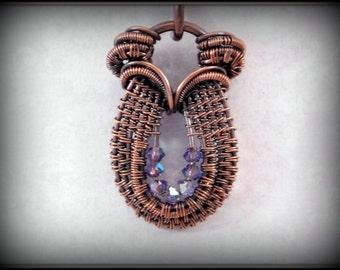Purple Tanzanite Swarovski Crystal and Copper Pendant, Wire Wrapped Horseshoe Shaped Necklace, Copper Jewelry, Purple Jewelry, Handmade