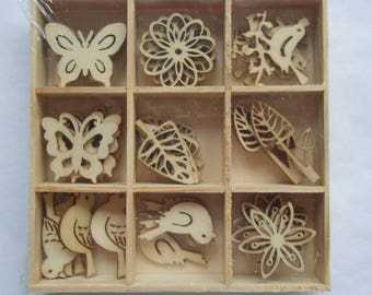 Box of 45 Assorted Mini Wooden BUTTERFLY, BIRD & FLORAL Shapes Craft Embellishments