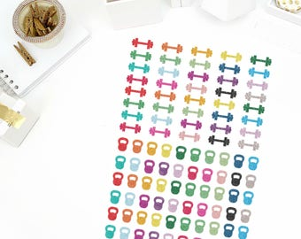 Glitter Dumbbell/Kettlebell Stickers! Perfect for your Erin Condren Life Planner, calendar, Paper Plum, Filofax!
