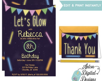 Kid's Glow Party Invitations - Children's Birthday - Girl or Boy Birthday Party - Print and Edit at home in Adobe Reader - Instant Download