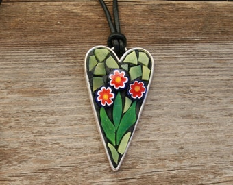 Mosaic Pendant-Heart with Flowers, Wearable Art