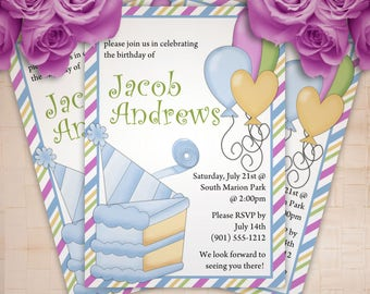 Cake and Balloons Birthday Party Invitation - Boy or Girl