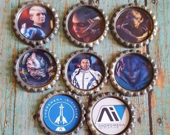 8pc Mass Effect ANDROMEDA Initiative Magnet Set Pathfinder AI Ryder ME4 MEA Cora Peebee Drack