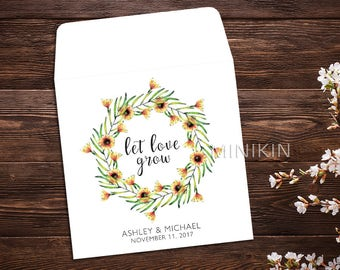 Sunflower Seed Packets, Let Love Grow, Seed Packet Favor, Seed Packet Envelopes, White Wedding Seed Packet, Wedding Favor, Floral x 25