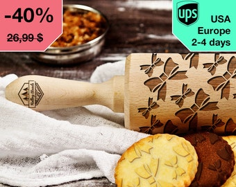 Bows - laser engraved rolling pin, embossing rolling pin