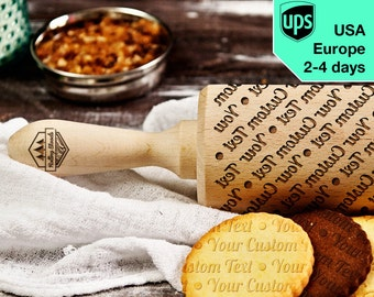 Custom Text - personalized, laser engraved rolling pin, embossing rolling pin