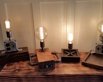 Rustic Industrial Table Light, Docking Station, Steampunk desk lamp, Nightstand Light