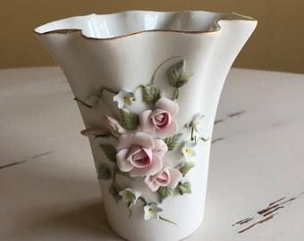 Vintage Lefton Porcelain Vase with Applied Flowers