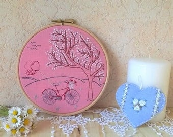 embroidery hoop wall art - bicycle embroidery - traditional embroidery wall art -  wall decor for nursery - embroidered wall hanging