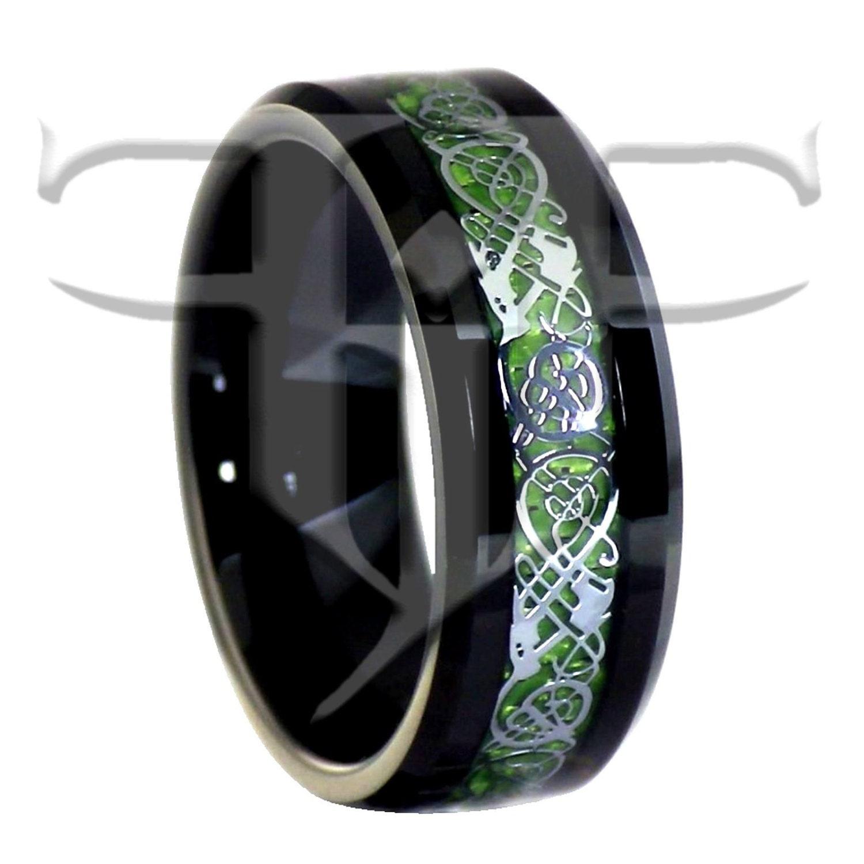 Celtic Dragon Ring  Black Tungsten Green Celtic Dragon Ring  Black  Tungsten Ring  Nordic