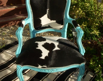 Made to order** Turquoise and Black & White Cowhide Victorian Chair