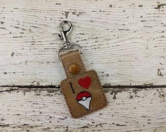 I Heart Pokemon Keychain - Ready to Ship - Bag Tag - Zipper Pull - Bag Accessory - Small Gift