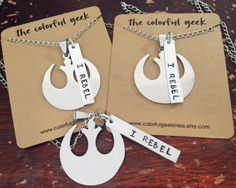 REBEL hand stamped necklace.