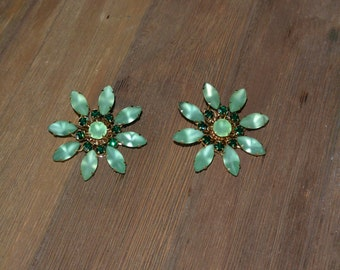 Pair of Vintage Earrings, frosted green floral design!