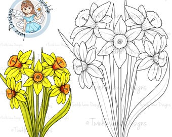 daffodils digi stamp flowers bouquet easter spring flower flower clipart daffodil clipart gardening plant colouring page a5 sheet