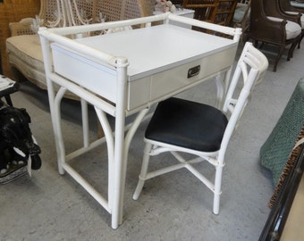 Ficks Reed Rattan Desk & Chair Set Palm Beach Regency