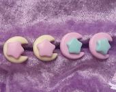 Dreamy space stud earrings fairy pop kei pastel