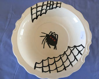 Ceramic Black Widow Spider Bowl