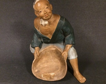 Japanese Hakata Figurine Man Holding Basket