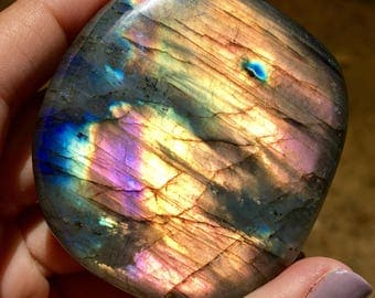 RARE Magenta and Gold Labradorite Palm Stone  / Transformation