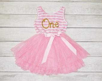 First Birthday Tutu Dress First birthday Outfit Pink Tutu Dress First Second Third  Fourth Fifth Birthdays Tutu