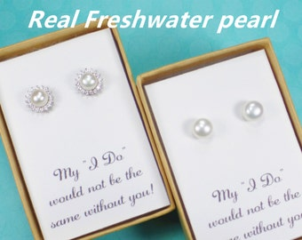 freshwater pearl earrings,bridesmaid gift,bridesmaid earrings,bridal party gift,bridesmaid pearl earrings,pearl stud earrings