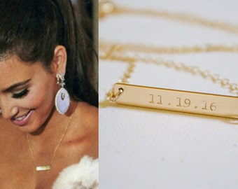 Gold Date Bar Necklace, Personalized Bar Necklace, Engraved Necklace, Special Date Necklace, 14k Gold Fill, Sterling Silver, Rose Gold