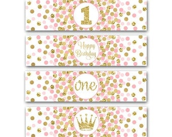 Little Princess Party Water Bottle Labels Girl 1st Birthday Party Decorations First Birthday Party Pink Gold Party Labels INSTANT DOWNLOAD