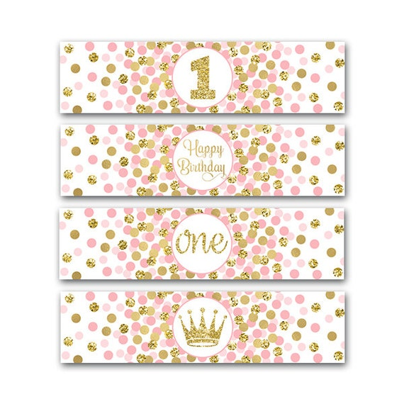 Little Princess Party Water Bottle Labels Girl 1st Birthday