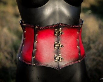 Leather waist cincher red corset closed by hooks