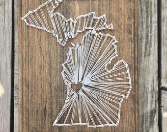 Michigan String Art, State String Art, Michigan Gifts, Map Wood Decor, Lake House Gift, Cabin Wood Sign, Michigan Wood Sign, State Pride